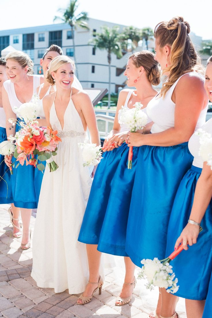 503 best bridesmaid dresses images on pinterest blue bridesmaids a nautical coral and blue destination wedding ombrellifo Image collections