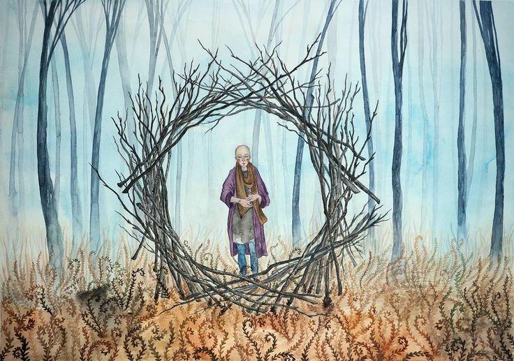 Marraskuu. November.   #watercolors #illustration #illustrationartists #painting #fairytale #pagan #mystical #woods #inthewoods #trees #branches #art #artofinstagram #autumn #imagination #metsä #metsässä #vesivärit #maalaus #kuvitus #mielikuvitus