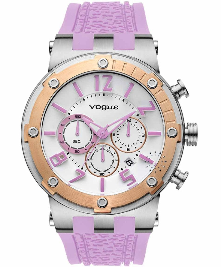 VOGUE Feeling Rose Gold Chrono Light Purple Rubber Strap  215€  Αγοράστε το εδώ:  http://www.oroloi.gr/product_info.php?products_id=31607