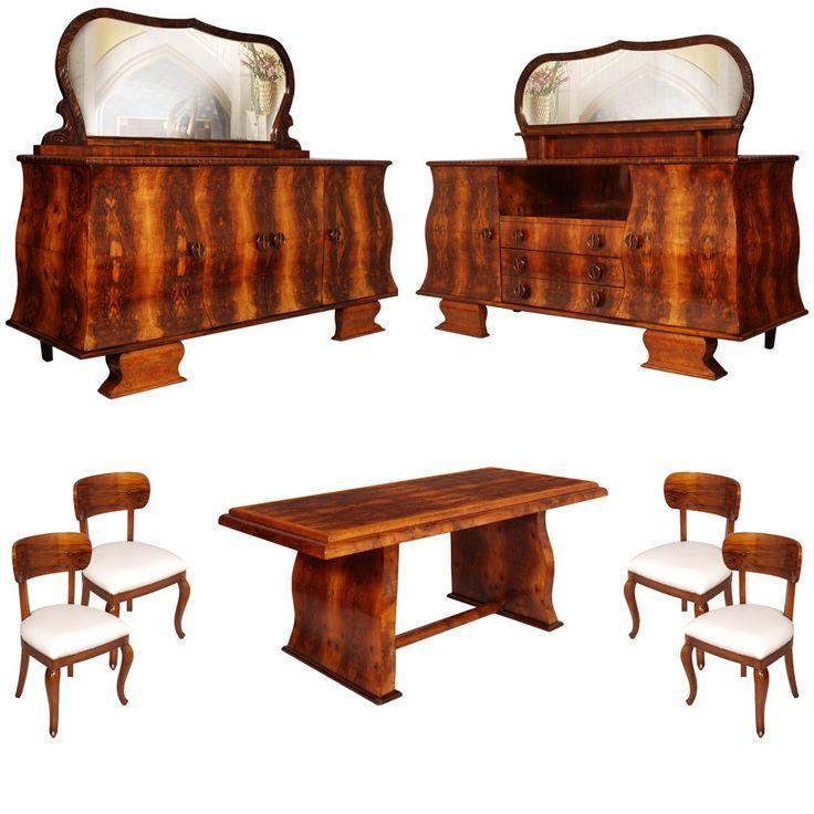 #artdeco #diningroom #vintage #midcenturymodern www.artisticantichita.com  SALA DA PRANZO ART DECO RADICA NOCE 1920s dining room furniture sets decò MA S56