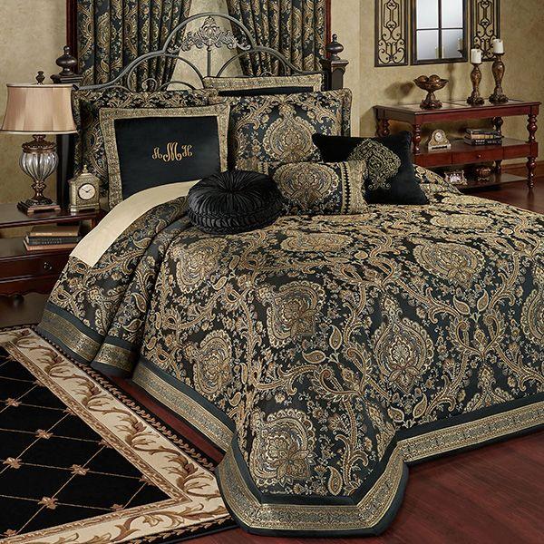 Bellevue Black Medallion Oversized Bedspread Bedding With Images