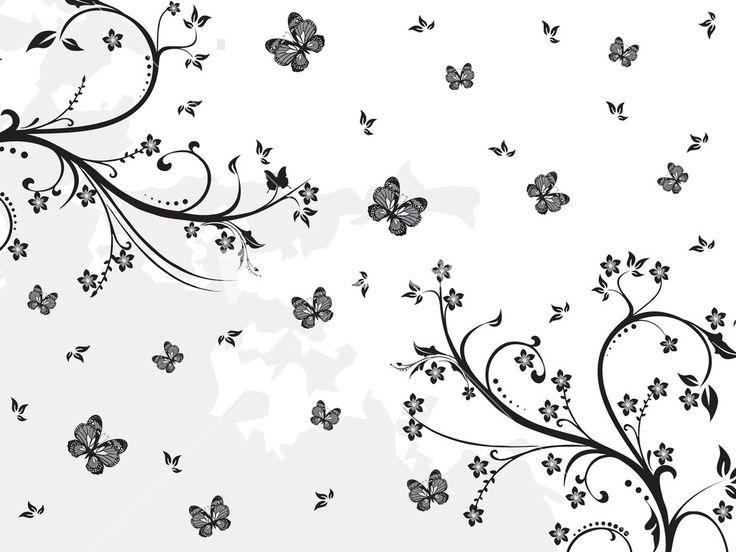 Black Creative Floral Design Stock Image