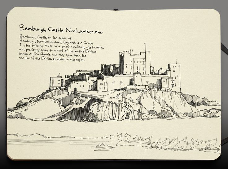 pen and ink art illustration bamburgh castle northumberland
