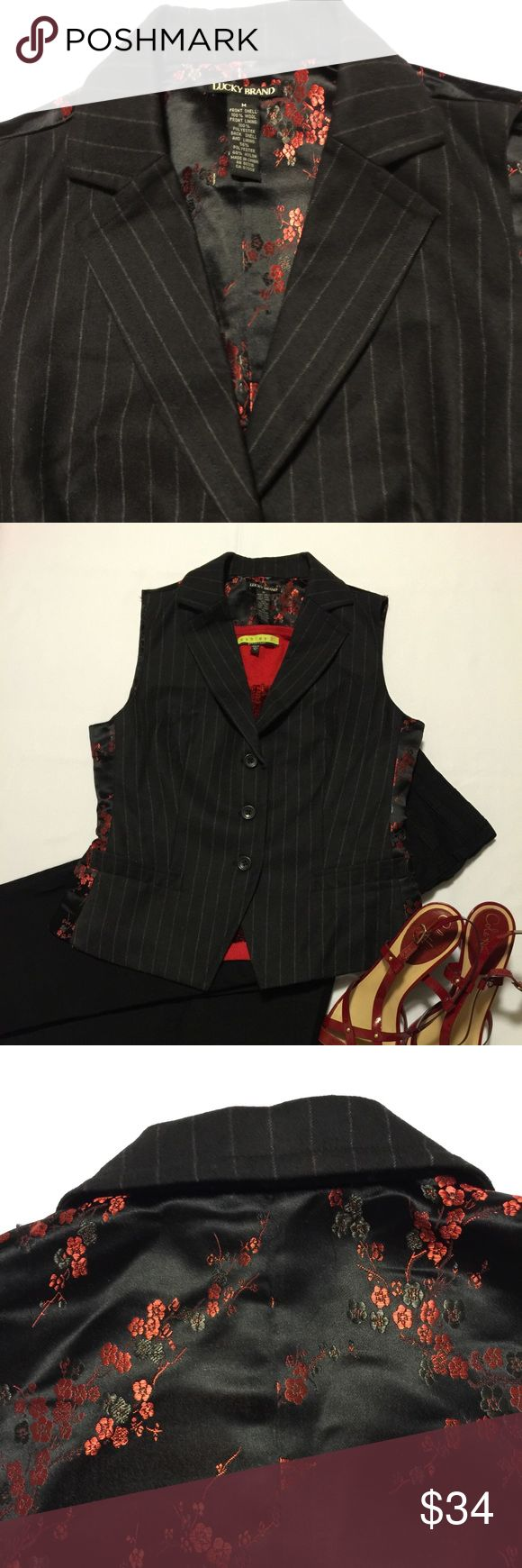 LUCKY BRAND black & red floral vest, size Medium Sharp addition to your wardrobe! Front is black with small pinstripe & back is beautiful satiny red floral design. EUC, so classy! Lucky Brand Tops