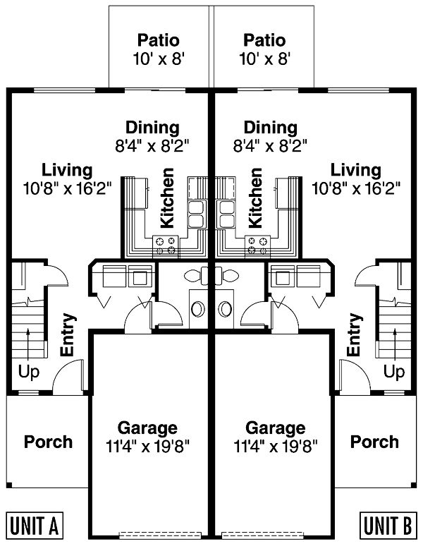Traditional Style Multi-Family Plan 69653 with 8 Bed, 6