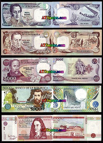 colombia currency | ... - Colombia paper money catalog and Colombian currency history