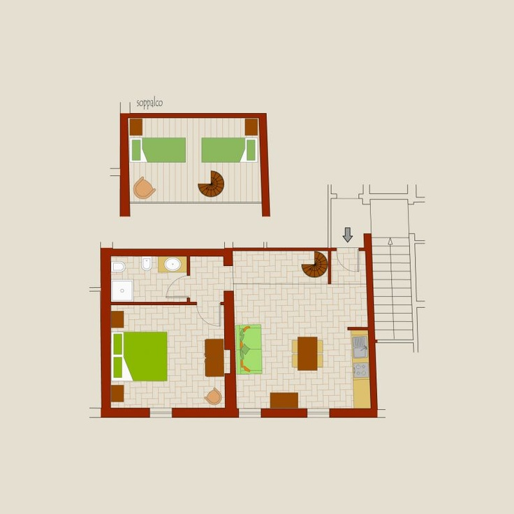 (2 +2+1+1 persons) 60 sq.mt. on the first floor with large living room with cooking corner, sofa/bed, loft with two single bed, bathroom and main double bedroom.   Play ground for the children   Access to Internet WiFi  Barbeque available  Tables and benches distributed in shadow areas around the farm