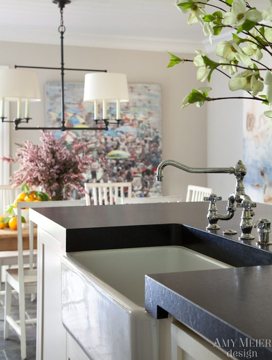 Amy Meier Design - kitchens - Benjamin Moore - Edgecomb Gray - white cabinets, white cabinetry, black counters, black countertops, white kit...