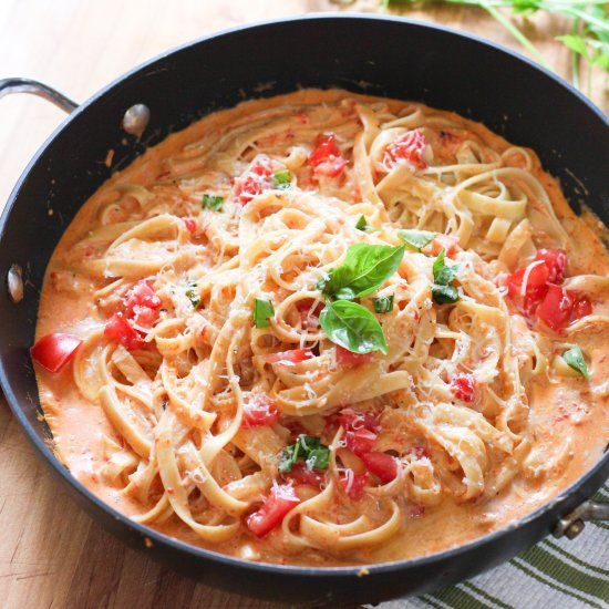 Roasted Red Pepper Fettuccine with Creamy Asiago Sauce.