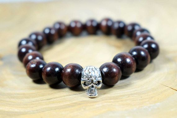 Men's Skull Bracelet with Wood Beads in by AlterDecoCoinsnBeads #skull #energy #fortune #woodbeads #bracelet #menbracelet #boho #boho man #boyfriend gift