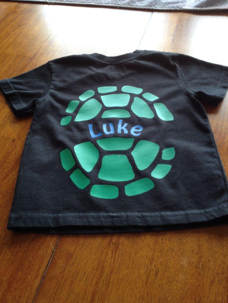 "Heat transfer vinyl "" ninja turtle shell"" back of shirt"