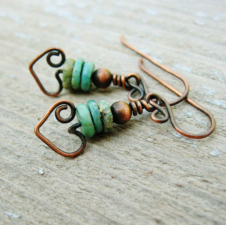 Turqoise and Antiqued Copper Bear Hug Dangles by BearRunOriginals