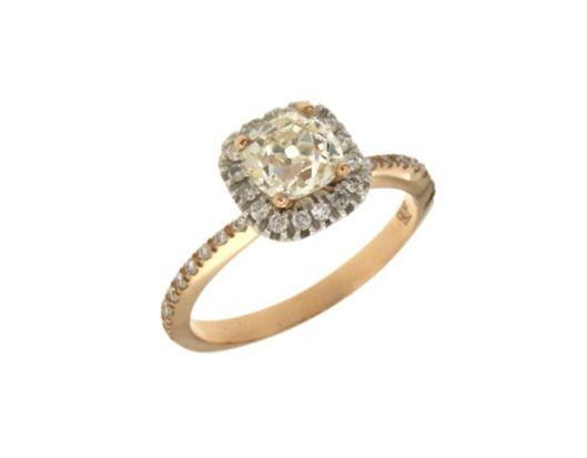 Δαχτυλίδι Μονόπετρο Vintage σε Ροζ χρυσό και λευκό με μεγάλο διαμάντι 28346
