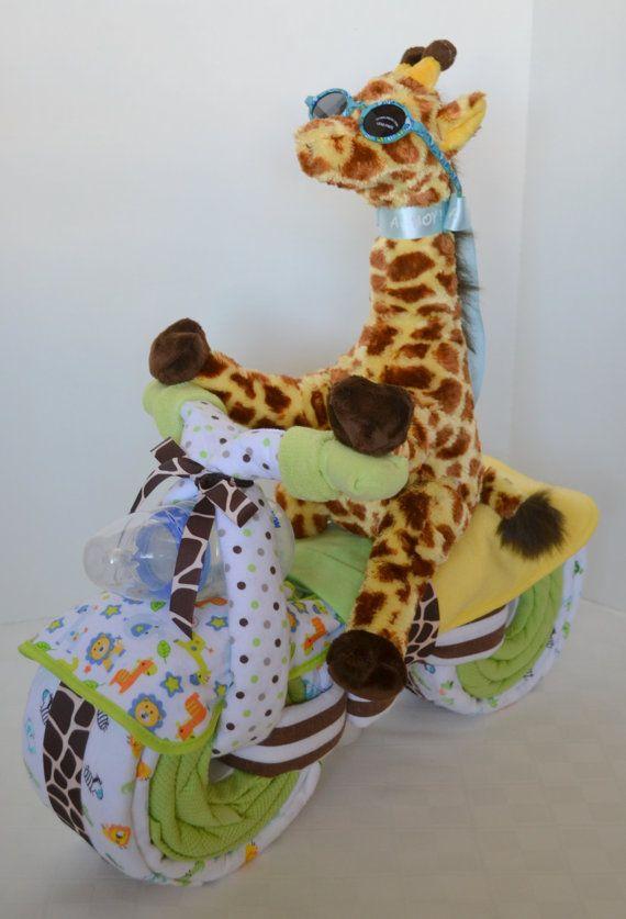 Giraffe+Diaper+Cake | Motorcycle Bike Diaper Cake, Baby Cake, Giraffe, Jungle, Safari,Baby ...