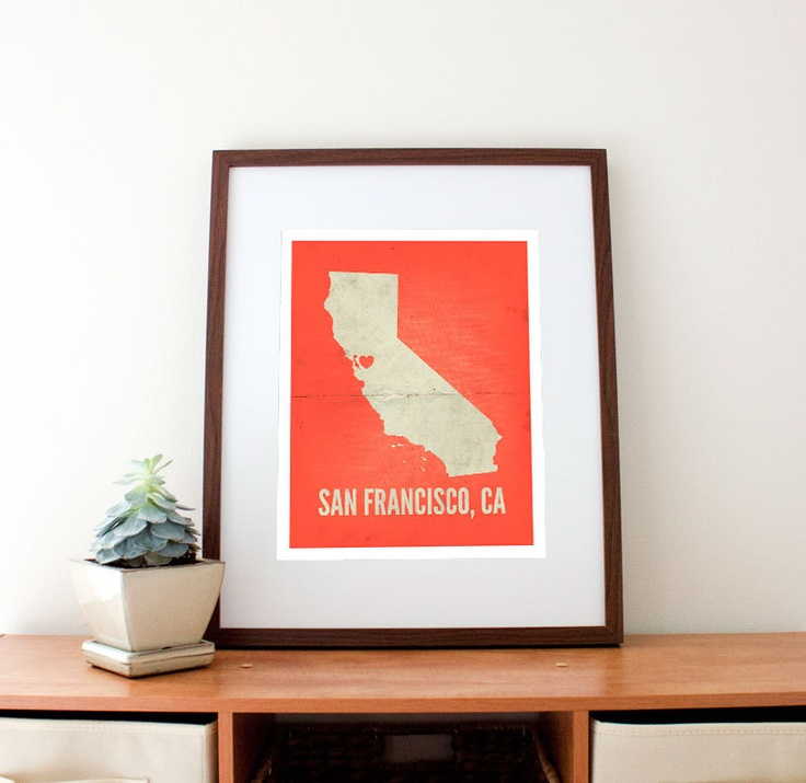 San Francisco Kaiser Map%0A San Francisco CA Love Print    x    by amycnelson on Etsy         USD