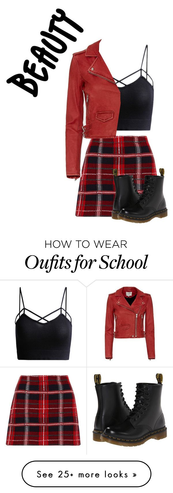 """edgy school girl"" by beautyguruforever on Polyvore featuring Miu Miu, Dr. Martens and IRO"