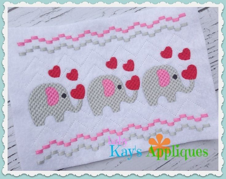 Baby Kay's Appliques - Elephant Holding A Heart Faux Smock 4x4, 7x3, 7x5, $1.00 (http://www.babykaysappliques.com/elephant-holding-a-heart-faux-smock-4x4-7x3-7x5/)