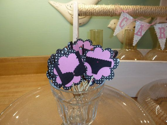 Lingerie Cupcake Toppers,Bachelorette Party Cupcake Decorations, 12 Cupcake Toppers or Food Picks