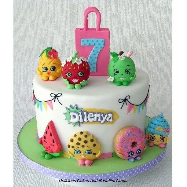 "28 Likes, 9 Comments - Ganga Gamalath (@deliciouscakes_beautifulcrafts) on Instagram: ""Shopkins theme Cake for Dilenya's 7th Birthday! The 7 cute guys Strawberry kiss, Apple blossom,…"""