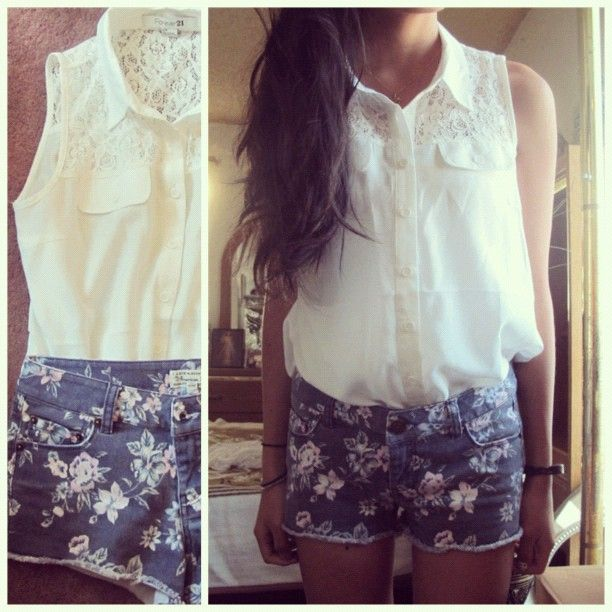 Floral Prints, Floral Shorts, Summer Outfit, Style, Clothing, Cute Outfit, Jeans Shorts, Denim Shorts, Dreams Closets