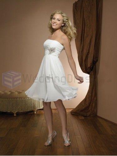 Beach Chiffon Ruched Bodice Strapless Sweetheart Neckline Wedding Dresses