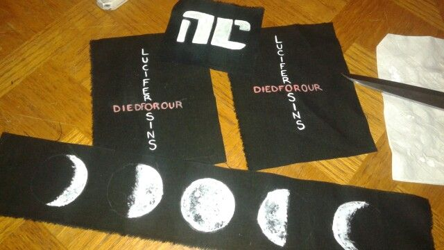 """Patches! Free hand painted on black cotton. Bitch planet NC, wicked and divine """"lucifer died for our sins"""""""