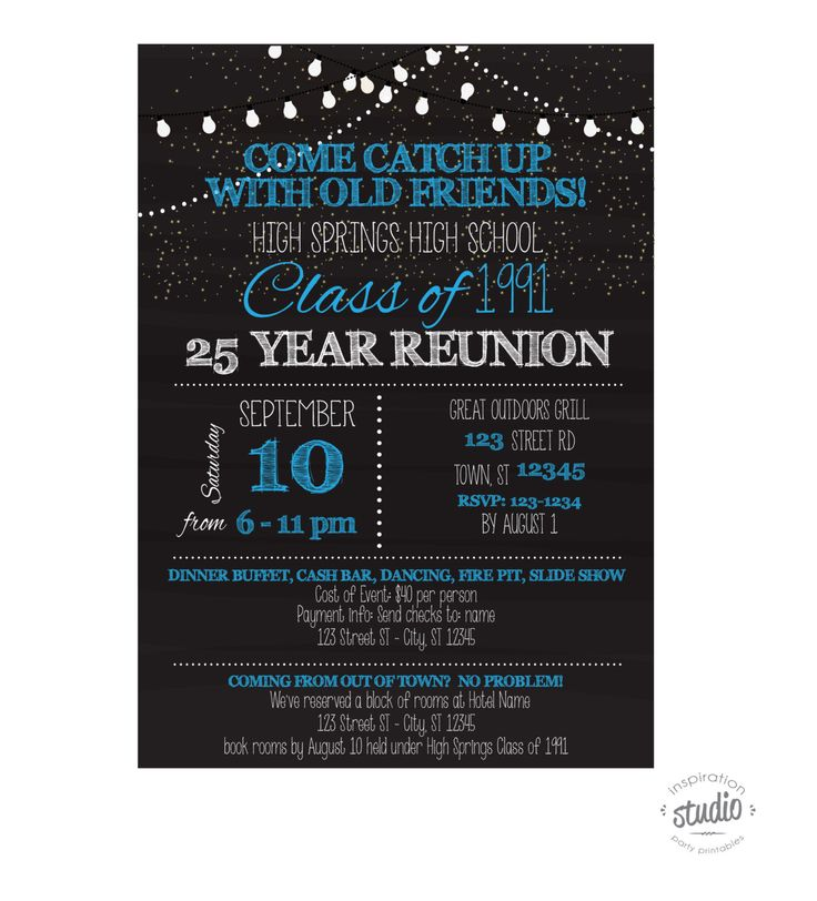 Best 25 class reunion invitations ideas on pinterest class chalboard style with lights custom printable school or family reunion invitation pick your school colors stopboris Gallery