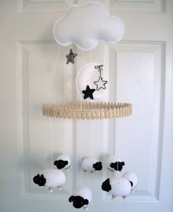 Baby Mobile Nursery Mobile Sheep Mobile by EllaLeeRoseOriginals, $110.00