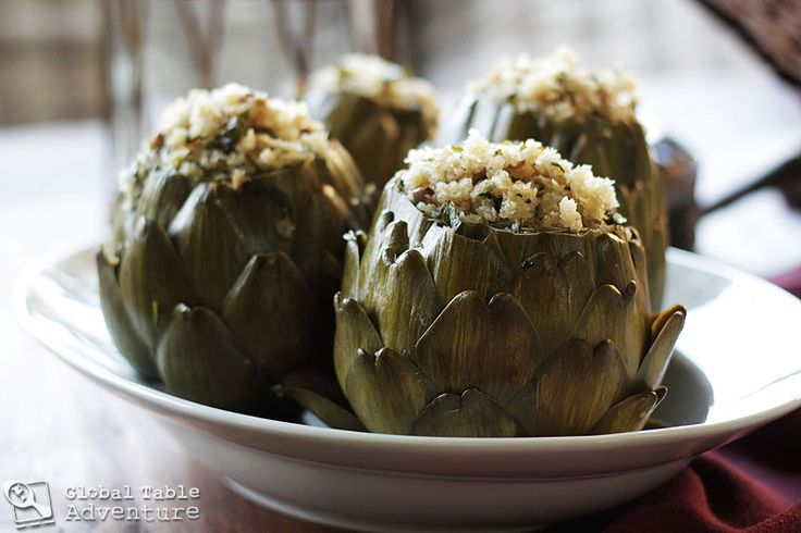 Stuffed artichokes. One of my favorites and good for you! http://globaltableadventure.com/wp-content/uploads/2012/03/malta.food_.img_1655.jpg