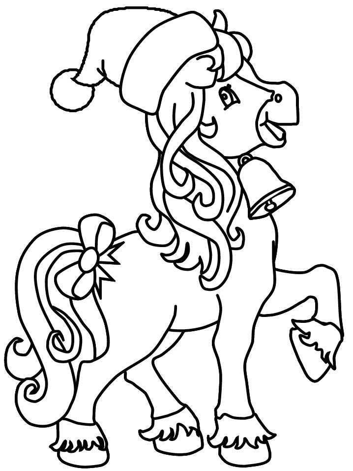 printable horse christmas coloring pages coloring book for kids of all ages