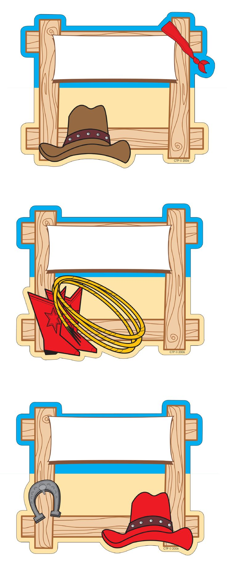 Perfect for decorating classroom walls. These fun hitching post cut-outs (or downsize to be a label) are perfect for a cowboy or country themed classroom look. Includes 3 styles:  - Hitching post with cowboy hat and bandanna - Hitching post with cowboy boots and lasso - Hitching post with cowboy hat and horseshoe