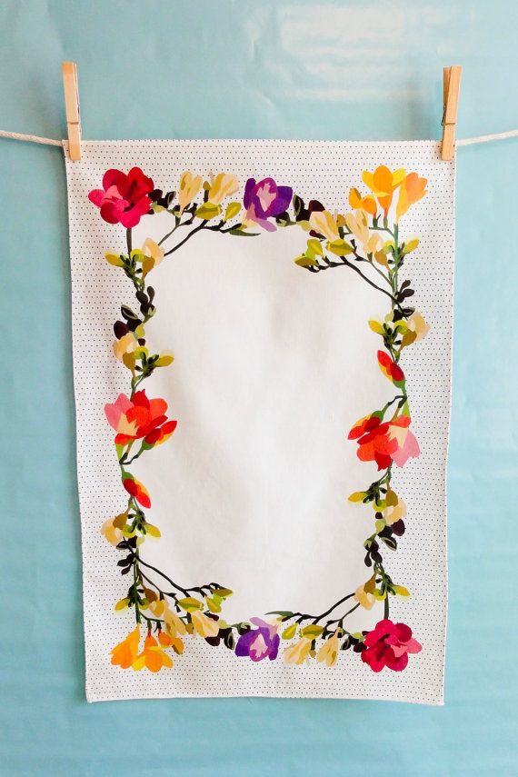 Freesia Kitchen / Dish / Tea Towel by ClothAndColor on Etsy >>  Border prints! Another tea towel classic.