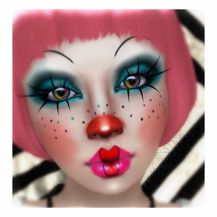 Coming soon at Horrorfest! Lots of clown girl makeup options, lashes, & skin. For this pic, I wore the base clown skin with red nose & cheeks option, then I right-click-added the eye makeup, multi-color freckles, pink lips, & red bow lip on top <3