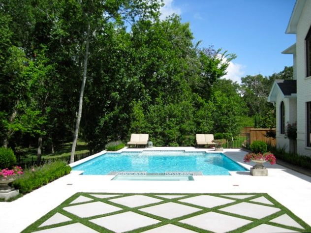 Contemporary Pool Design, Artificial Turf, Stained Concrete, Limestone Patio,  Outdoor Living In