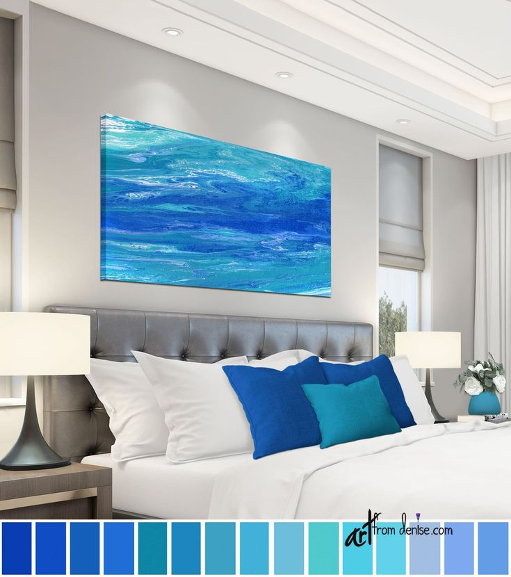 Teal & cobalt blue abstract coastal artwork, Long horizontal wall art canvas, over bed decor, above couch or dining room pictures