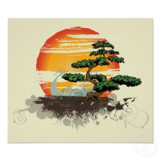 Asian bonsai and sun custom print poster #poster #vintage #print #japanese #fineart #art #japan #ukiyo-e #hanga #decoration #home #gift