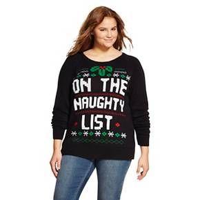Naughty List Plus Size Ugly Christmas Sweater Black - Awake