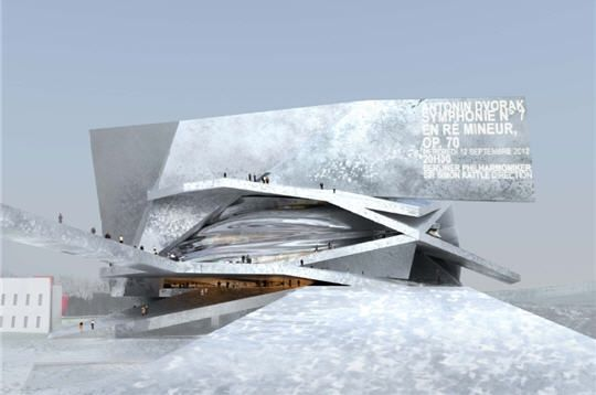 """Jean Nouvel, gagnant du prix Pritzker 2008  - l'équivalent du prix Nobel pour les architectes - a été choisi pour concevoir la salle philharmonique de Paris. Pour cet architecte français de renommée internationale, """"la première façon de faire du durable, c'est de faire des bâtiments que l'on a le désir de conserver"""". Le bâtiment sera revêtu de """"pavés en fonte d'aluminium"""", un matériau indestructible. La salle ouvrira ses portes en 2012 entre la Cité de la musique et le boulevard périphérique"""