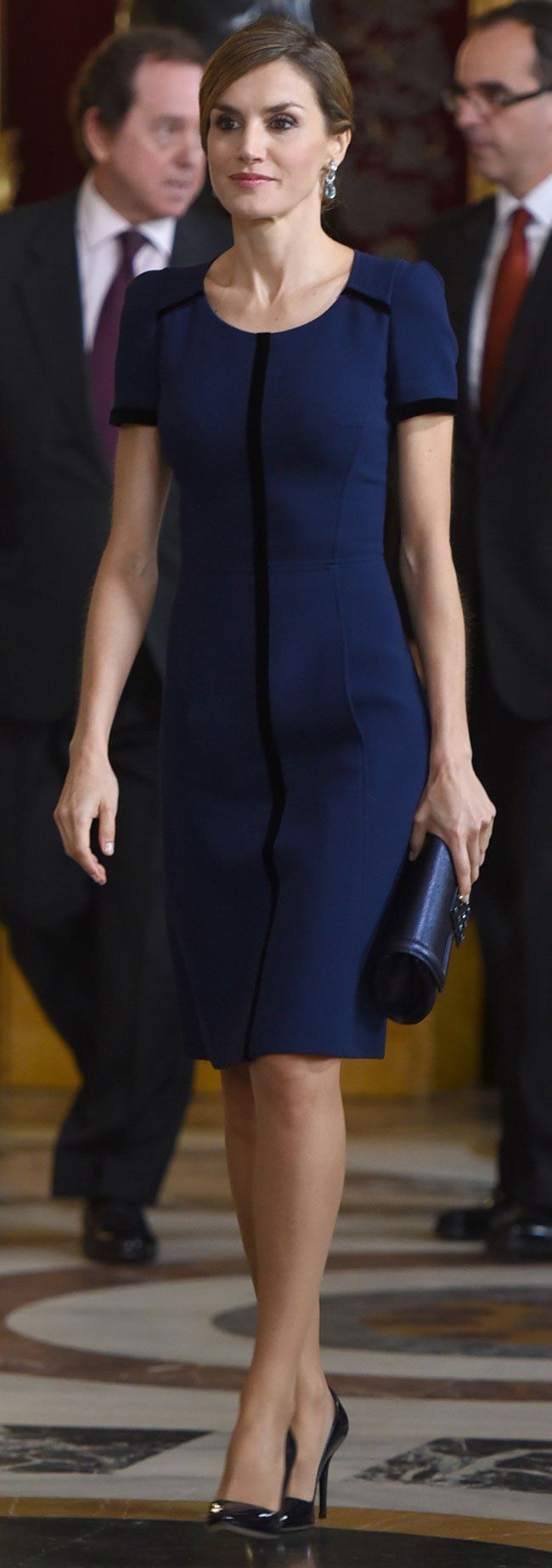 Queen Letizia of Spain wearing a Felipe Varela dress & clutch with Magrit shoes