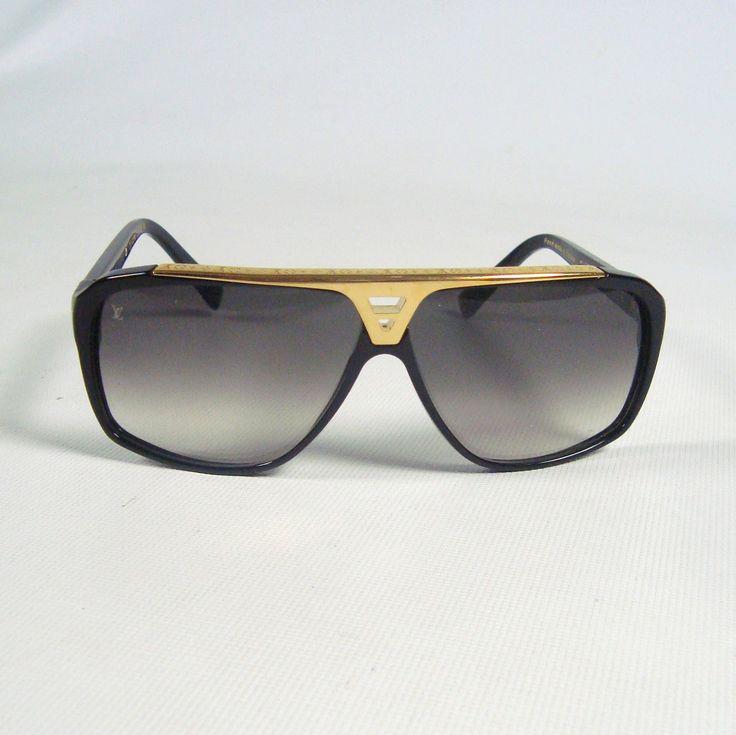 Louis Vuitton Sunglasses (Men's Pre-owned Black & Gold Aviator Sun Glasses, LV France)
