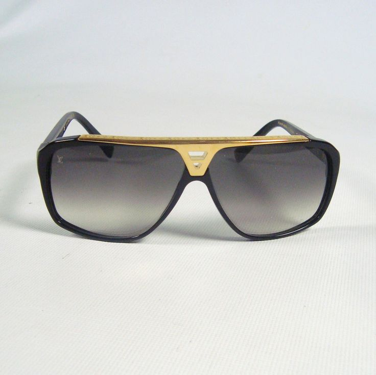 louis vuitton sunglasses mens pre owned black gold aviator sun glasses lv