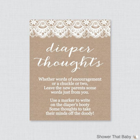 Burlap and Lace Baby Shower Diaper Thoughts Game by ShowerThatBaby, $5.00