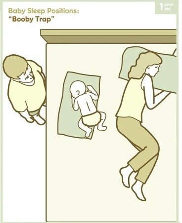 "Baby sleep positions ""Booby Trap"" Lmao."