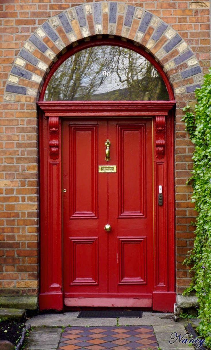 Red door in Dublin, Ireland.
