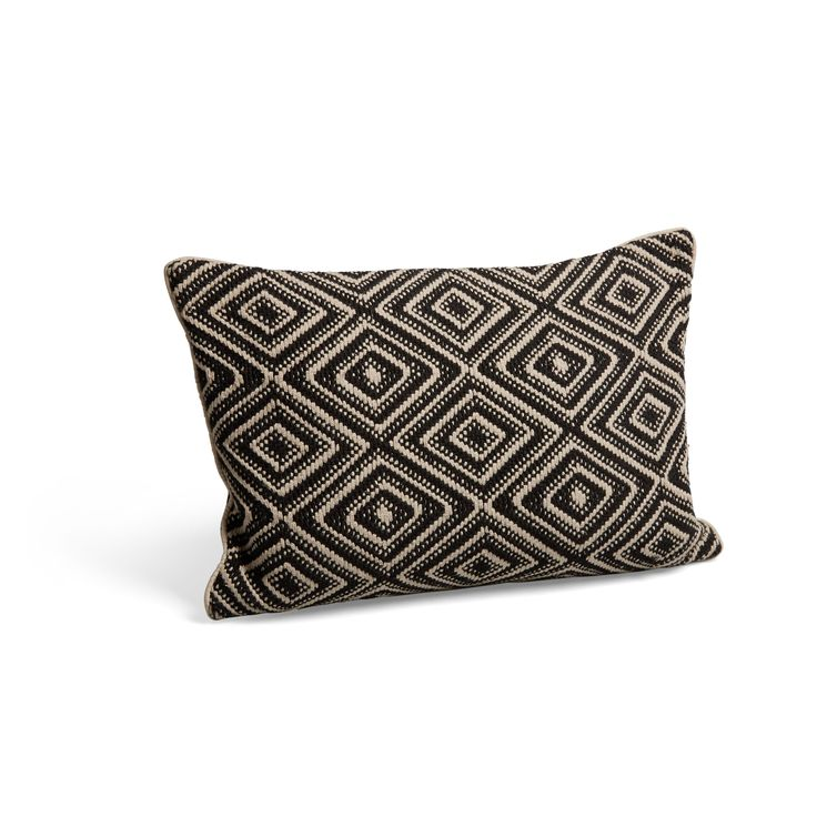 KASBAH Diamond Weave Black Cream Cushion