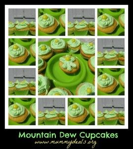 Mountain Dew cupcakes that start from a simple box mix. Di-vine (and an easy dessert!) from @Clair @ Mummy Deals #cupcakes #mountaindew #birthdayparties
