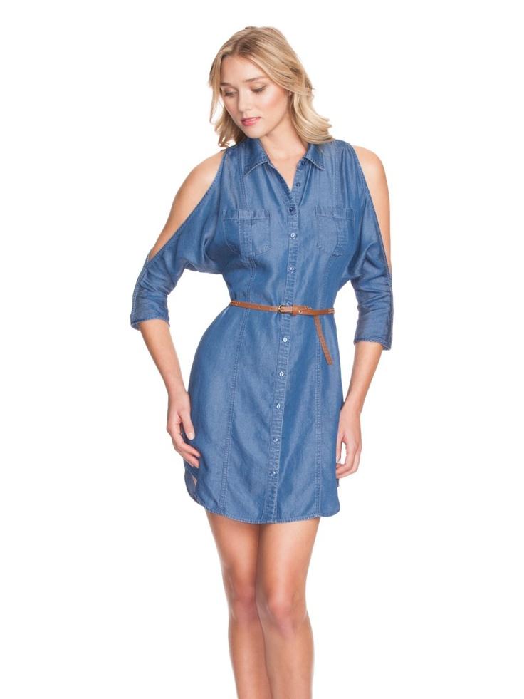 GUESS Three-Quarter Sleeve Denim Shirtdress, VISUALIST WASH (MEDIUM)