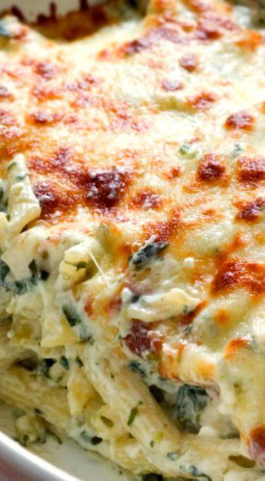 Cheesy Spinach Dip Chicken Pasta Recipe ~ Cheesy and creamy