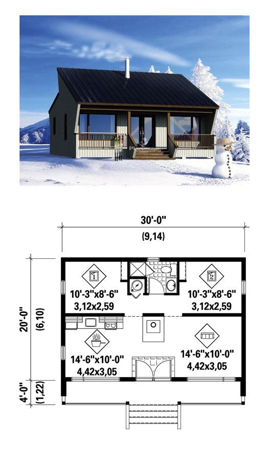 Tiny House Plan 52784 | Total Living Area: 600 sq. ft., 2 bedrooms and 1 bathroom. #houseplan #tinyhouse