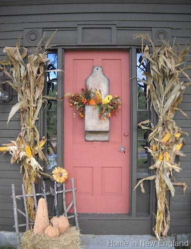 A Brown House And A Coral Front Door FrontDoorFreak.com